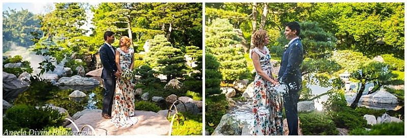 Como Conservatory Japanese Garden Wedding couple