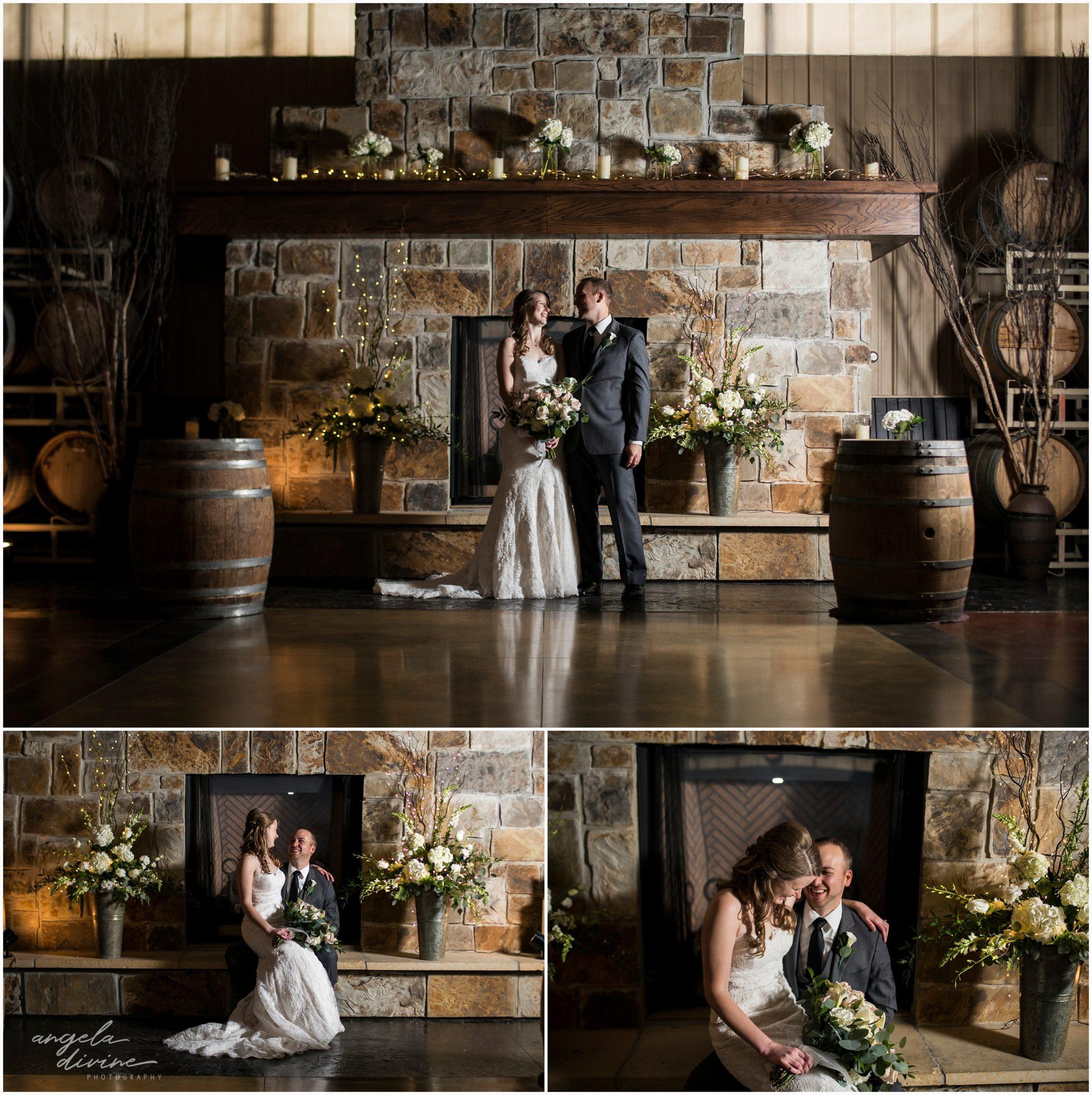 Carlos Creek Winery Wedding Fireplace