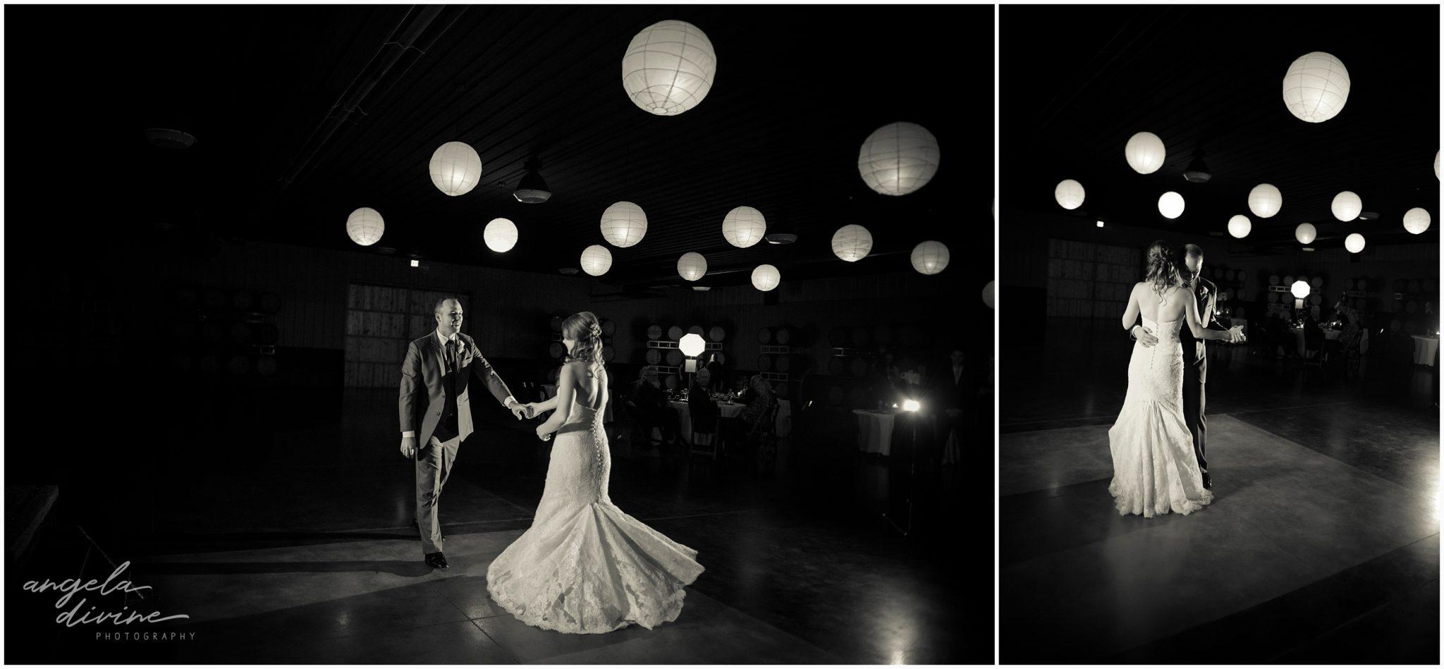 Carlos Creek Winery wedding bride and groom dance