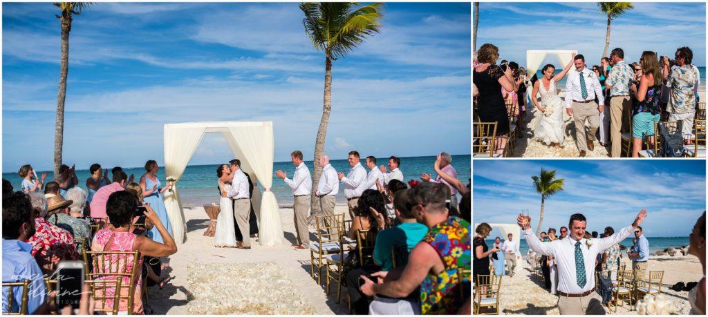Sanctuary Cap Cana Wedding Punta Cana Beach Ceremony First Kiss