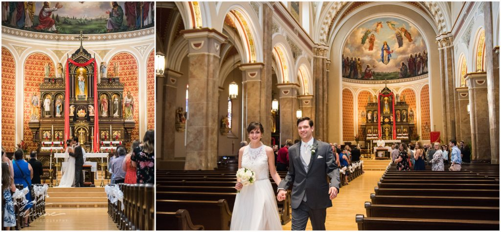 University Club wedding church of assumption ceremony end