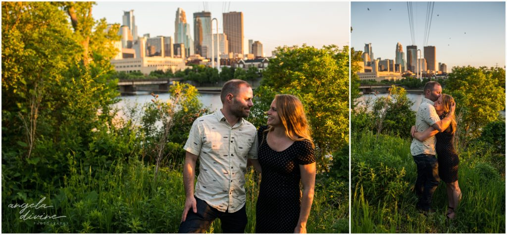 Nicollet Island Engagement Session skyline