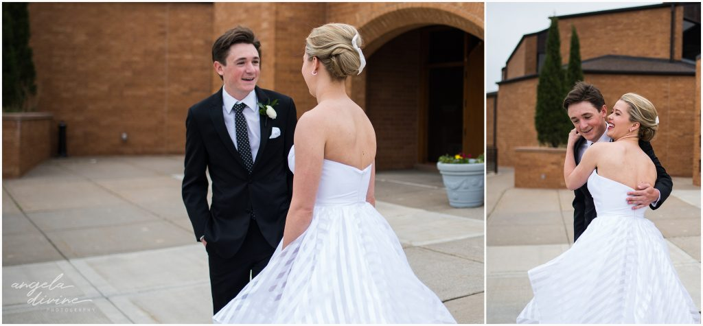 Westin Edina Galleria Wedding All Saints Catholic Church First Look