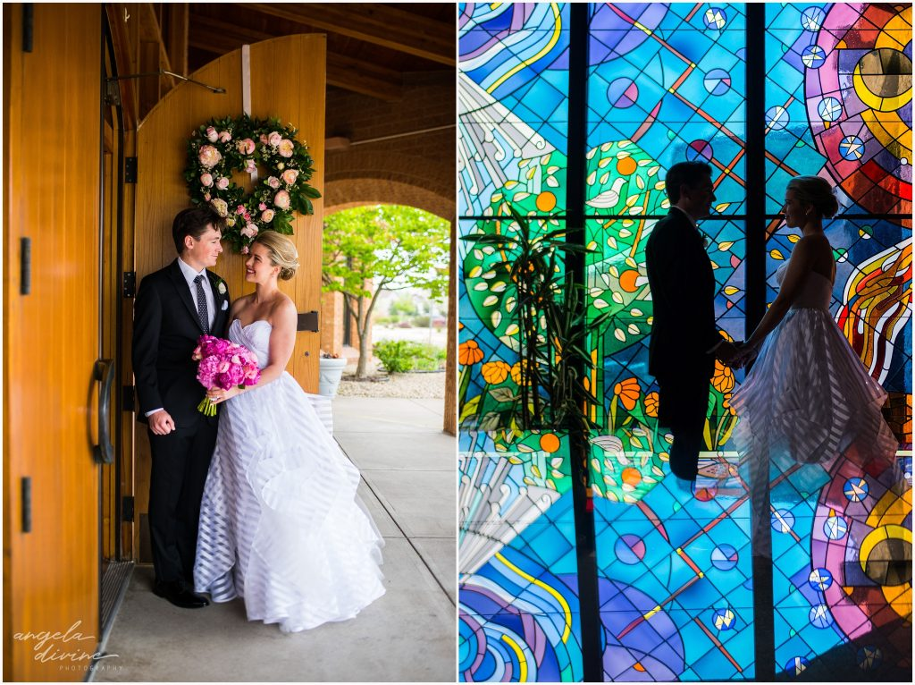 Westin Edina Galleria Wedding All Saints Catholic Church Stain Glass