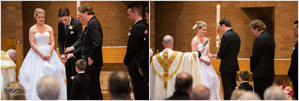 Westin Edina Galleria Wedding All Saints Catholic Church Ceremony Ring Exchange