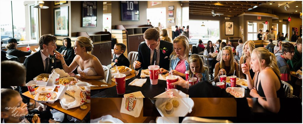 Westin Edina Galleria Wedding Raising Canes Fast Food Wedding Party