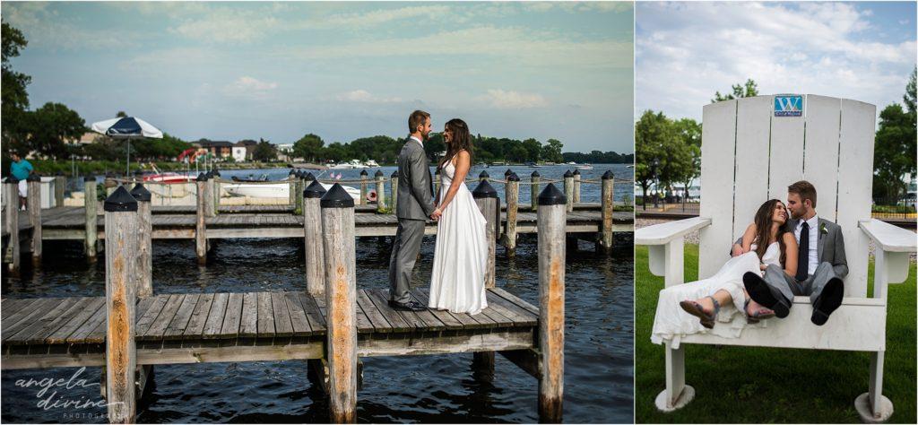 hotel landing wayzata wedding lake bride and groom