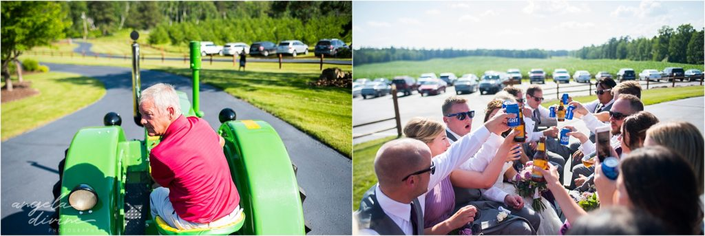 pine peaks event center wedding tractor