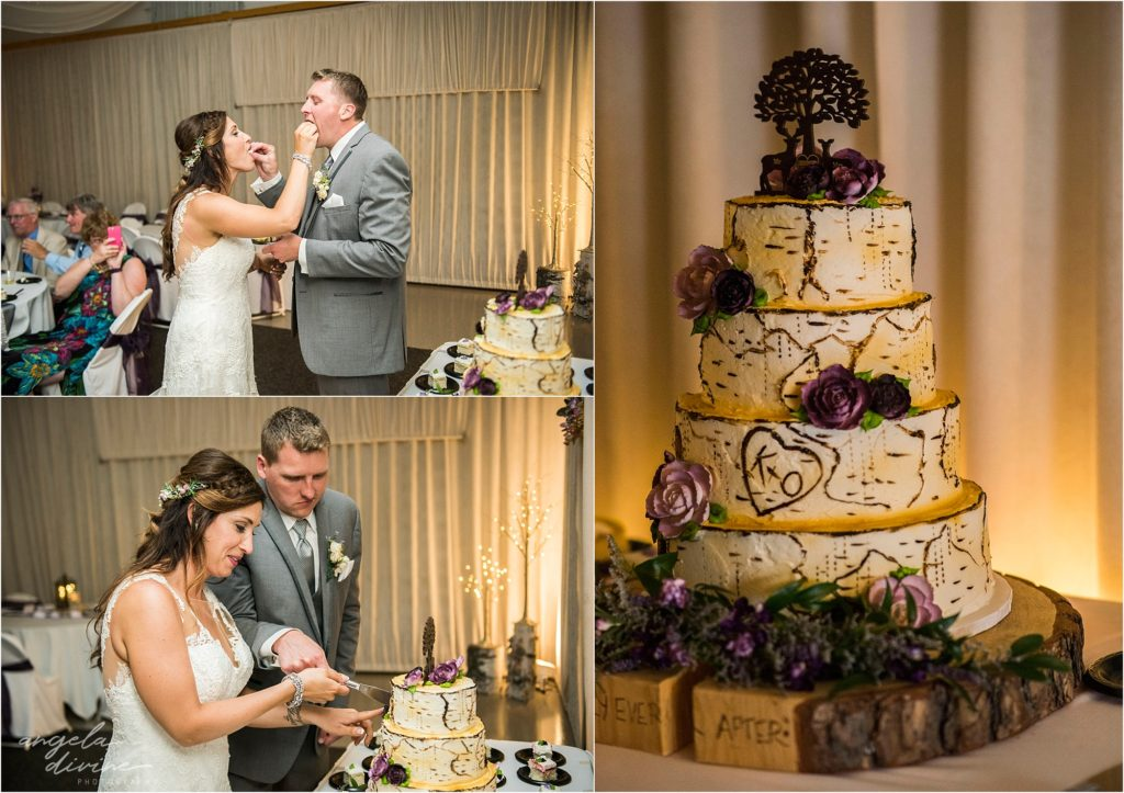 pine peaks event center wedding cake cutting