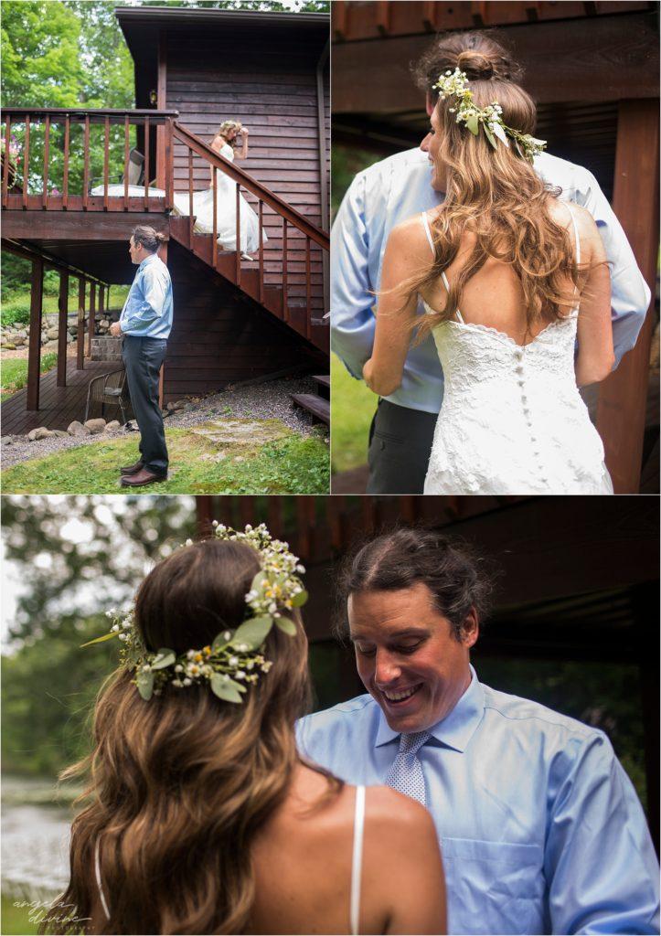Hayward Wisconsin Backyard Wedding First Look