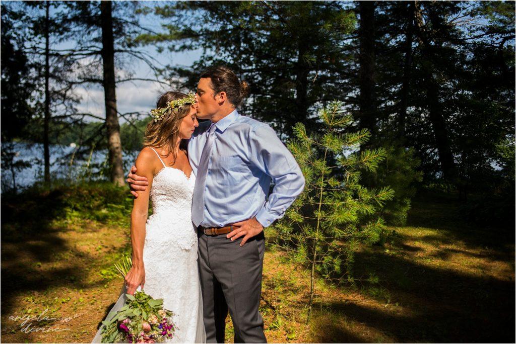 Hayward Wisconsin Backyard Wedding Bride and Groom