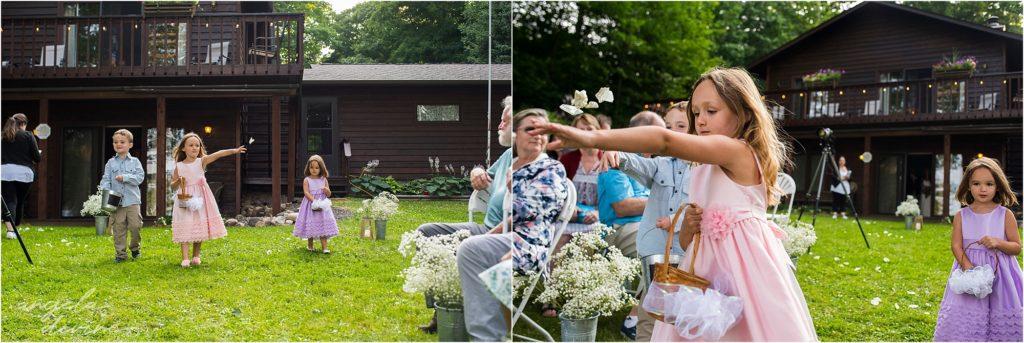 Hayward Wisconsin Backyard wedding Ceremony Flower Girls
