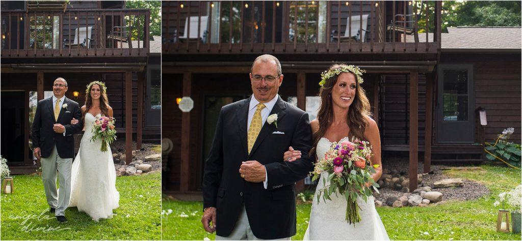 Hayward Wisconsin Backyard wedding Ceremony processional