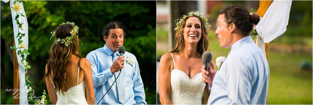 Hayward Wisconsin Backyard wedding Ceremony Rings
