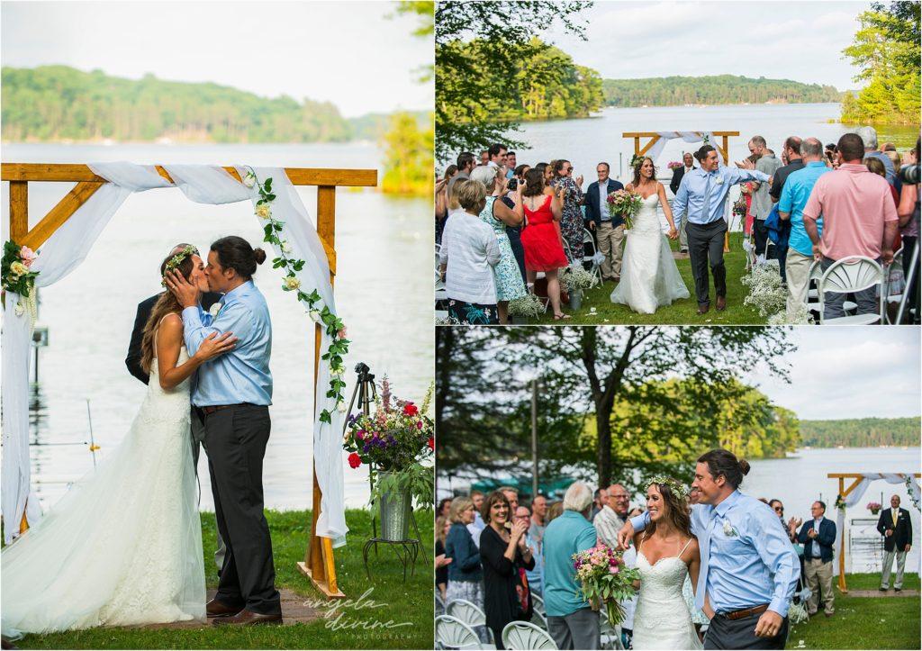 Hayward Wisconsin Backyard wedding Ceremony First Kiss
