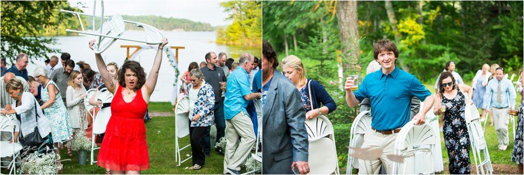 Hayward Wisconsin Backyard wedding Ceremony Chairs