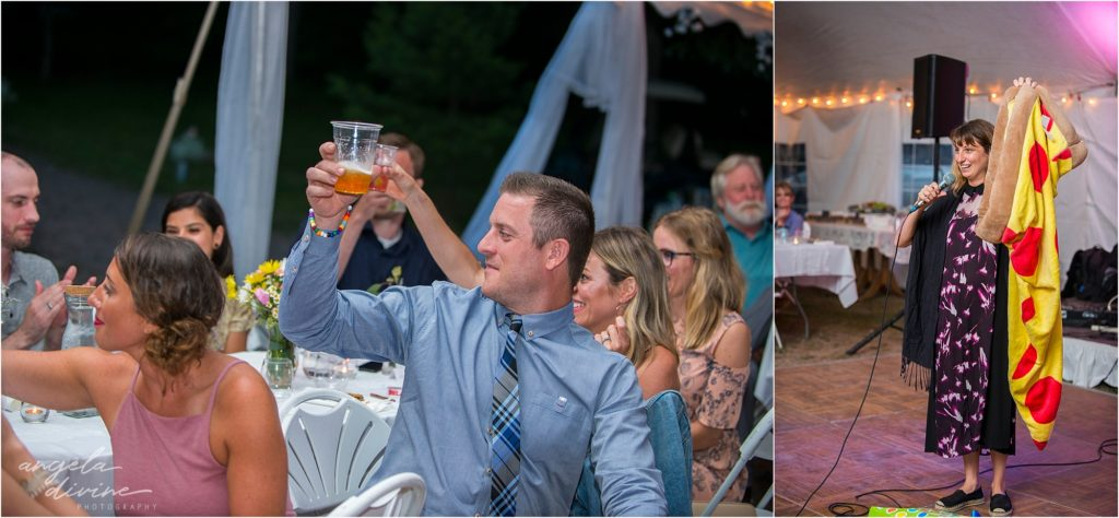 Hayward Wisconsin Backyard wedding Ceremony Reception Pizza