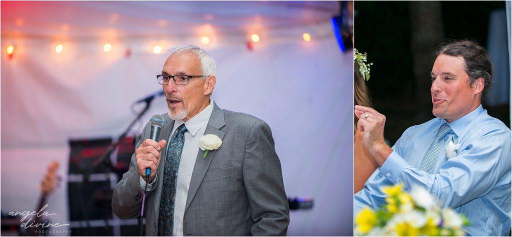 Hayward Wisconsin Backyard wedding Father of the Groom Reception Speech