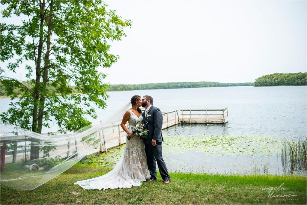 Barn at Five Lakes Wedding bride and groom lake