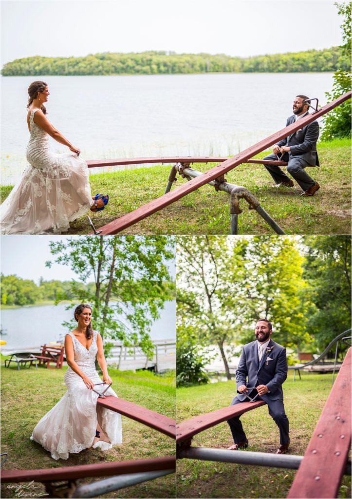 Barn at Five Lakes Wedding bride and groom sea saw