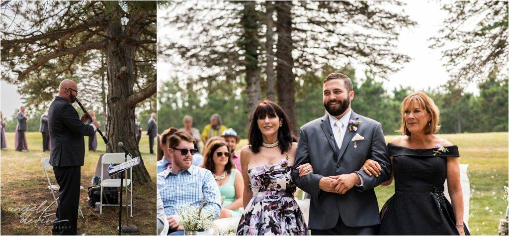Barn at Five Lakes Wedding ceremony aisle walk