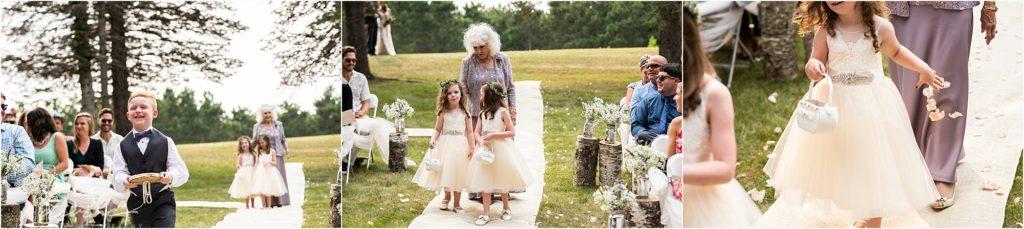 Barn at Five Lakes Wedding ceremony flower girls