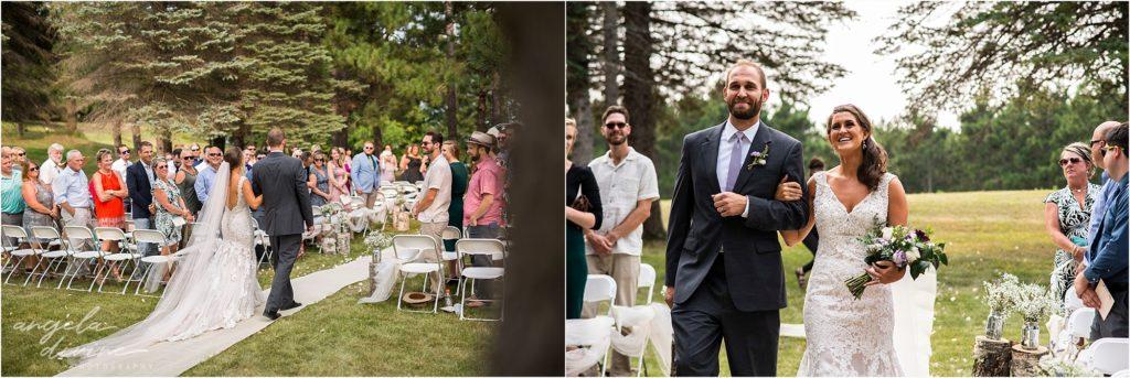Barn at Five Lakes Wedding ceremony bride down aisle