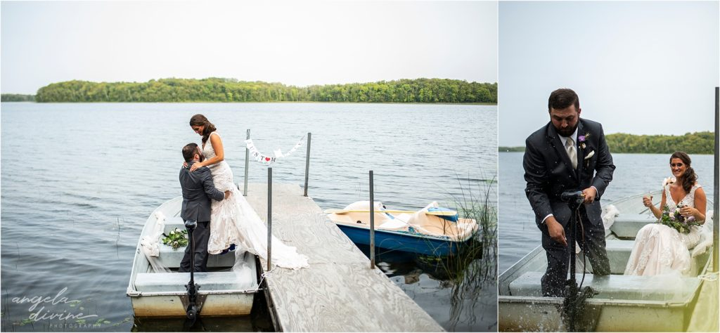 Barn at Five Lakes Wedding ceremony boat ride lake