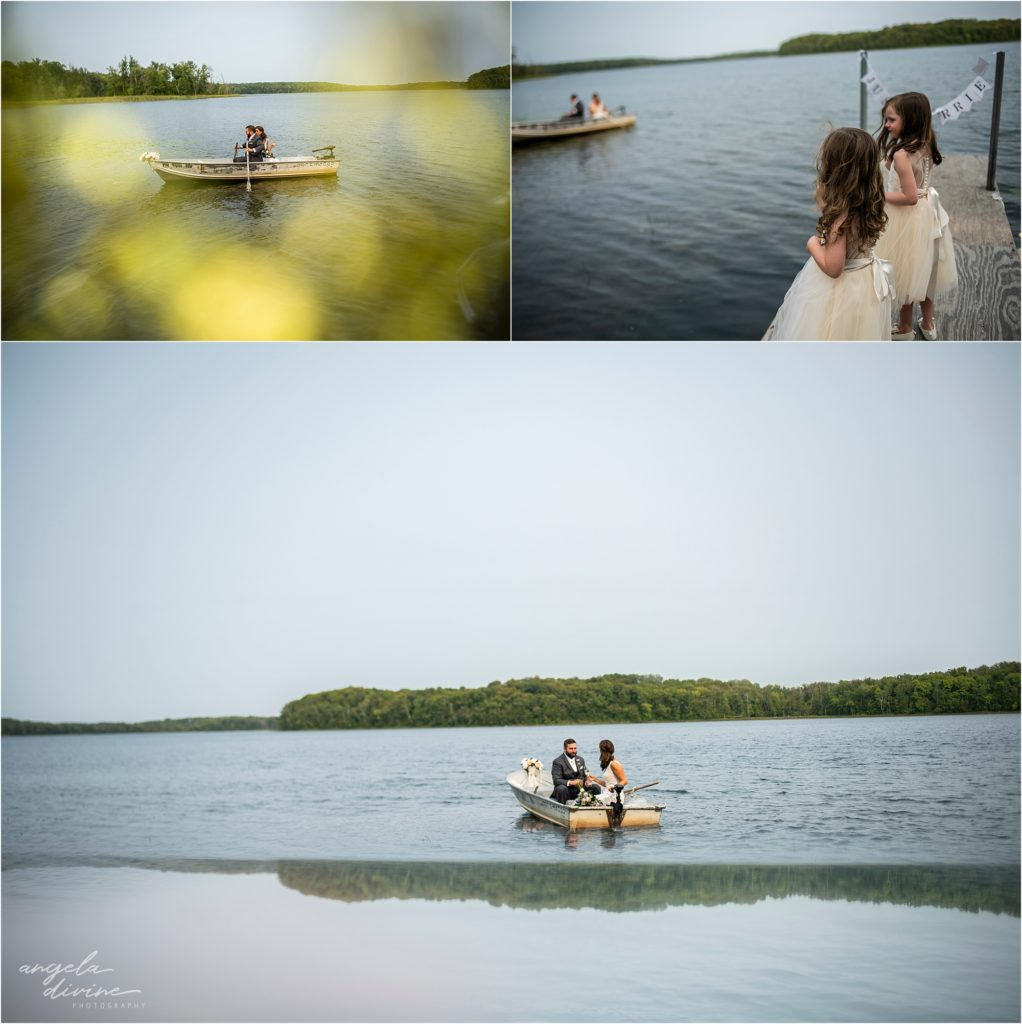 Barn at Five Lakes Wedding ceremony row boat