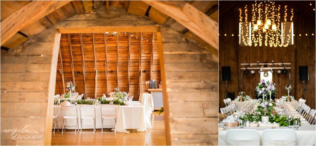 Barn at Five Lakes Wedding reception details