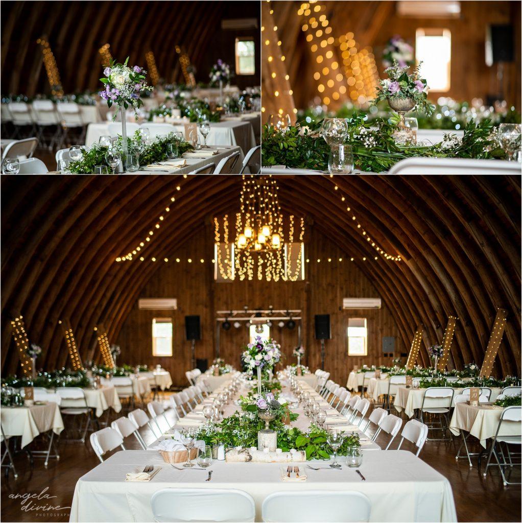 Barn at Five Lakes Wedding reception tables