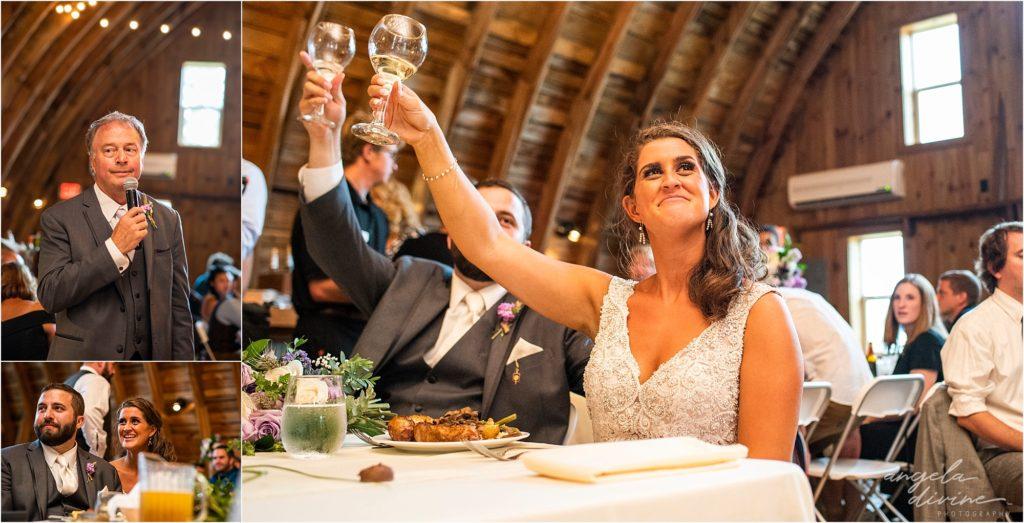 Barn at Five Lakes Wedding toast