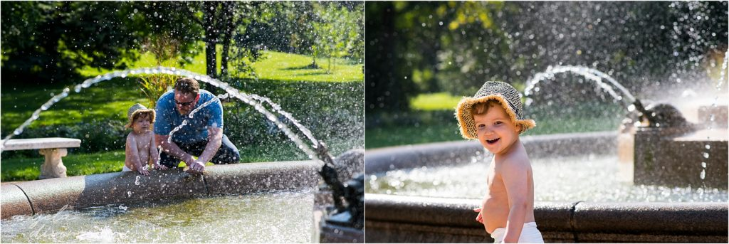 Lyndale Rose Garden Family Session Child in Fountain