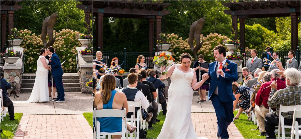 Millennium Garden Wedding Ceremony Aisle Kiss