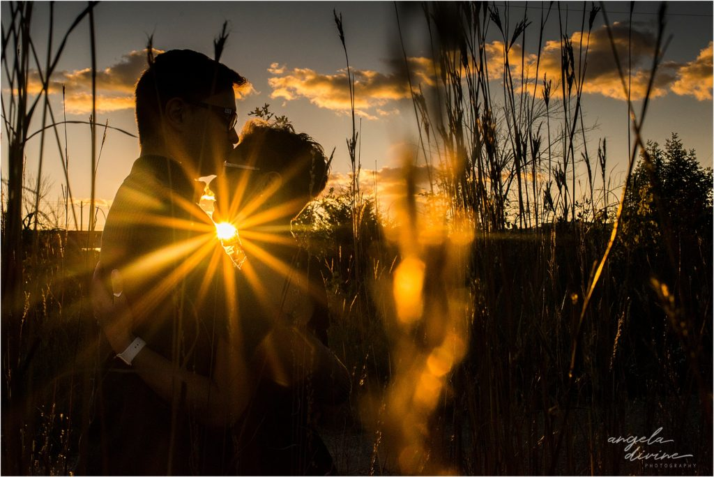 Coldwater Spring Minneapolis Engagement Session Sunset through Grass