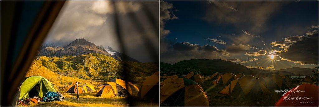 torres del paine w trek grande campsite in the morning