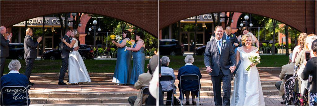 413 on Wacouta wedding Mears Park Ceremony Kiss