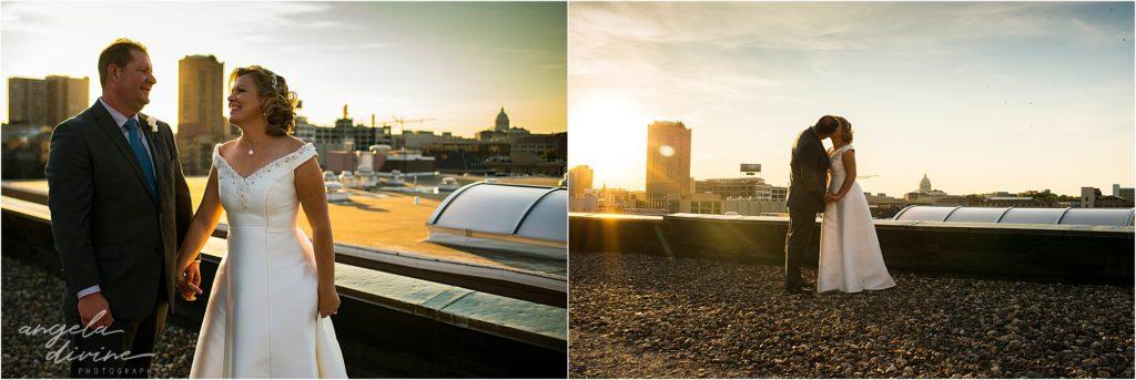 413 on Wacouta wedding sunset rooftop