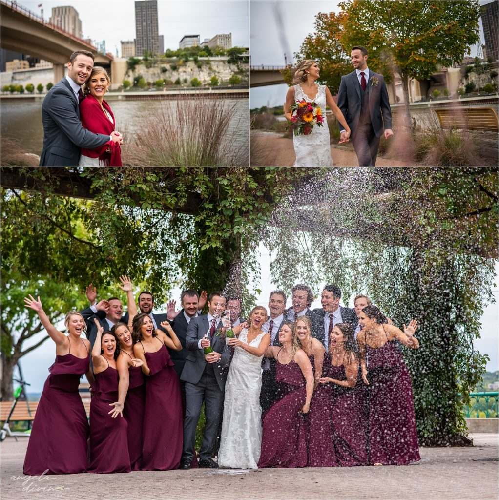 InterContinental St. Paul Riverfront Wedding party champagne