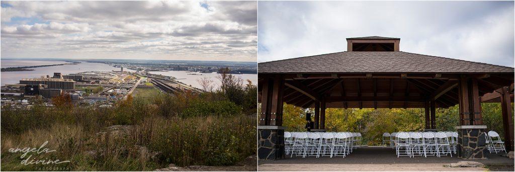 enger park duluth wedding ceremony set up