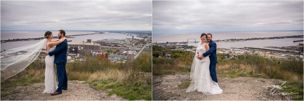 enger park duluth wedding bride and groom