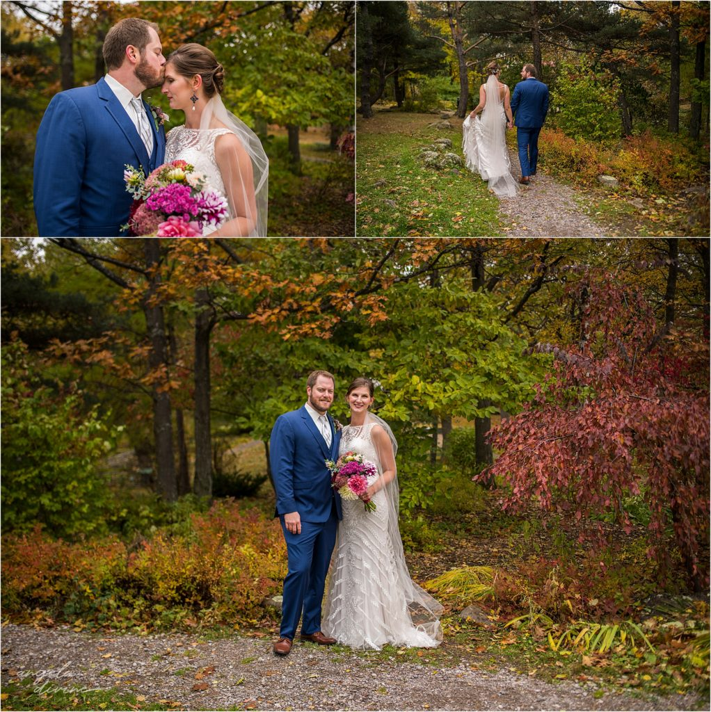 enger park duluth wedding bride and groom fall colors