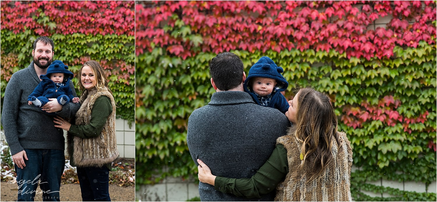 Snowy October Family Session ivy wall