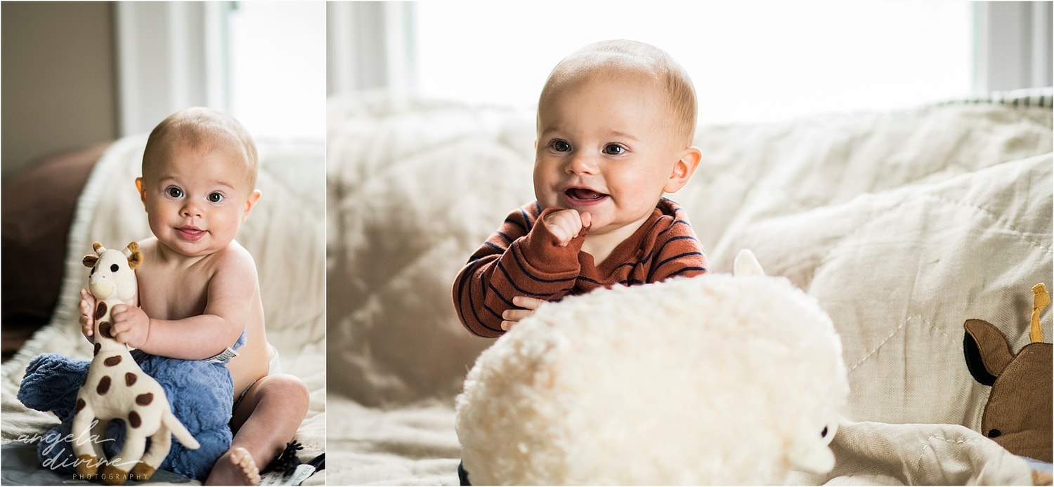 Snowy October Family Session stuffed animals
