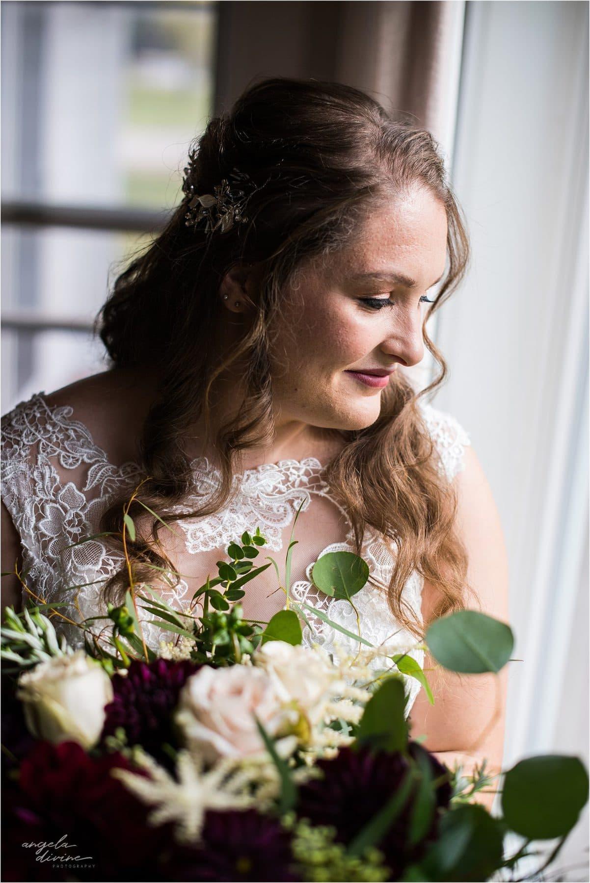 The Cottage Farmhouse Wedding bride by window