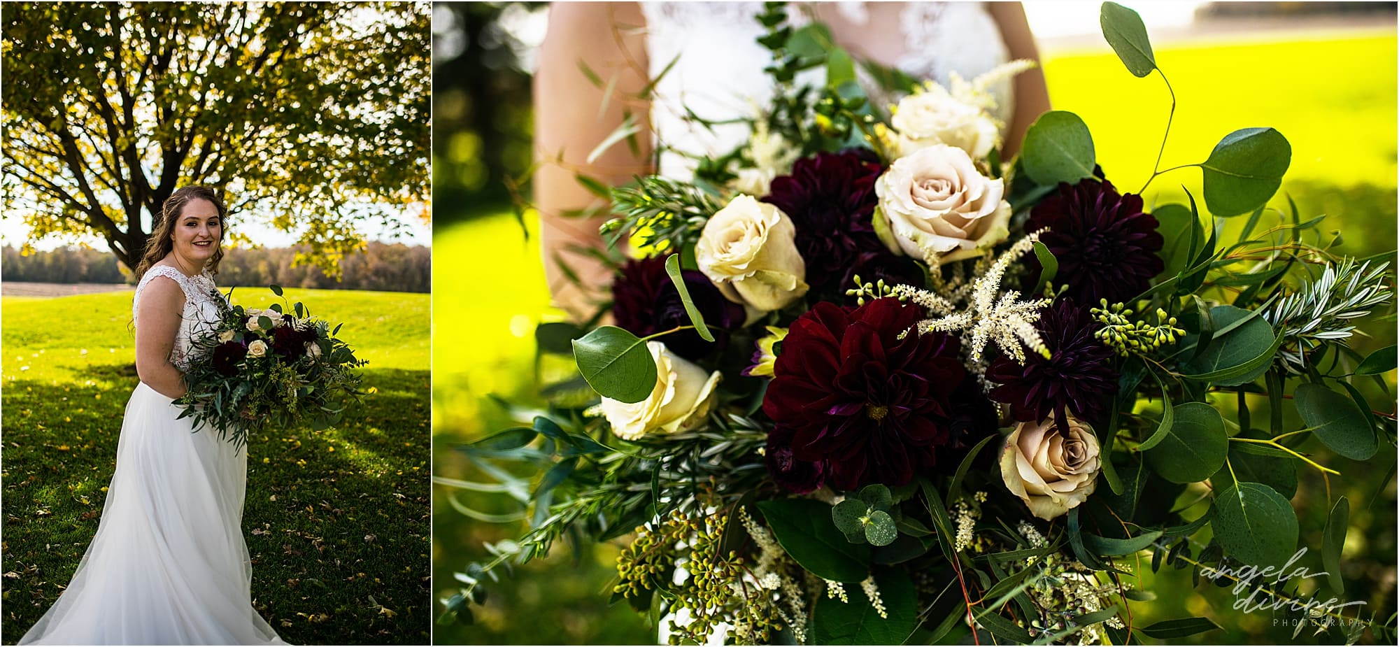 The Cottage Farmhouse Wedding Bride and flowers