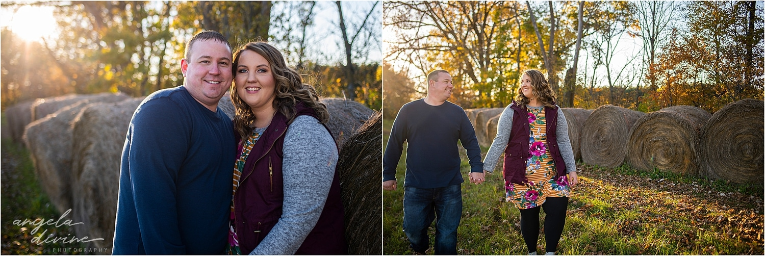 fall engagement session hay bales