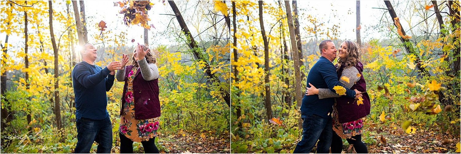 fall engagement session fall foliage