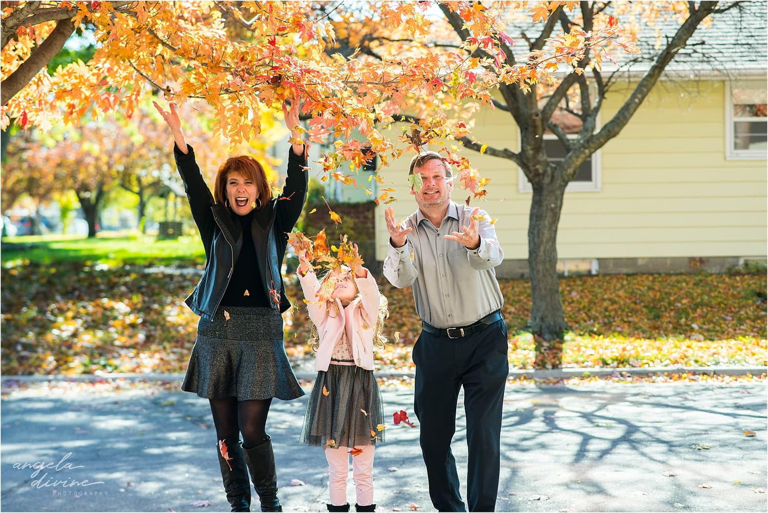Highland Park Family Session fall leaves