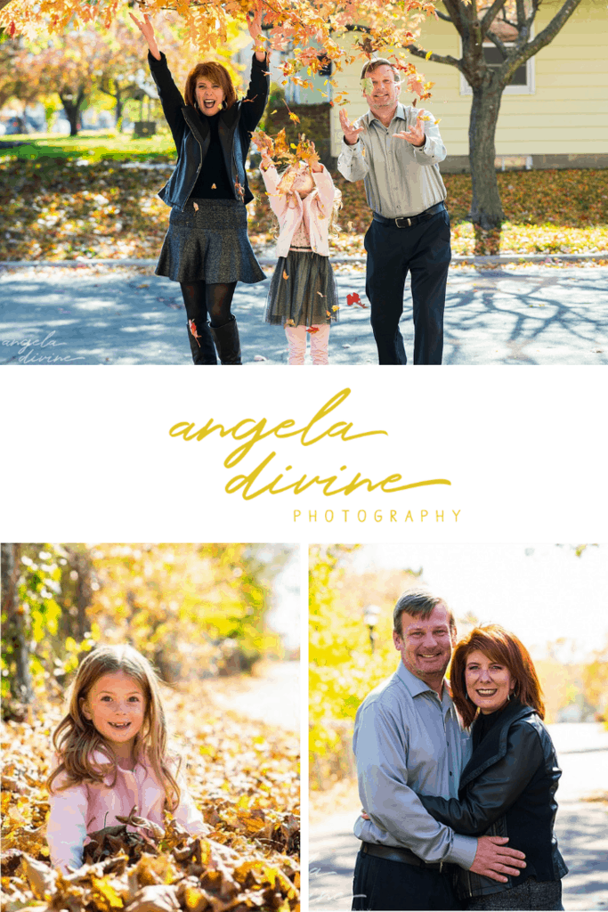 These pictures are from a fall family session I did with Kimberly, Tom, and their daughter, Clara, near their home in Highland Park, St. Paul. These joyful photos truly capture how much fun, laughter, and love they share. | Angela Divine Photography | #family #portraits #fall #stpaul | https://angeladivinephotography.com/highland-park-family-session/